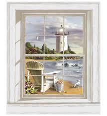 scenic lighthouse art accent window mural bj1224mmp