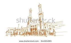 gold 3d hand drawn sketch mecca stock illustration 644024965