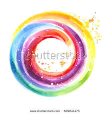 handmade color wheel round watercolor background stock