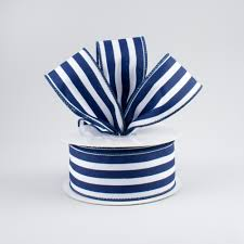 navy blue and white striped ribbon 1 5 vertical stripe ribbon navy blue white 10 yards