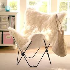 Folding Butterfly Chair Ivory Furlicious Faux Fur Butterfly Chair Pbteen