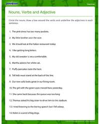 nouns verbs and adjectives u2013fun and printable fourth grade grammar