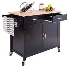 100 powell color story black butcher block kitchen island