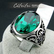 cool rings design images New synthetic emerald cool rings for men jewelry women retro jpg