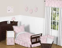 pink gray shabby chic butterfly damask girls toddler bedding sheet set