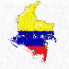 Colombian Map Colombia Painted Flag Map Painting By Antony Mcaulay