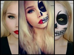 Halloween Skull Face Makeup by Halloween Half Skull Half Pretty Face Make Up Vanessa Herold