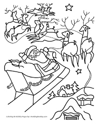 christmas santa coloring santa reindeer fly