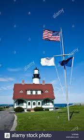 Usa Flag Cape Portland Head Lighthouse And The American Flag In Cape Elizabeth