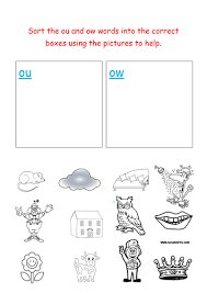 jolly phonics sorting ou and ow words by groov e chik teaching