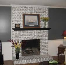 Whitewashing A Fireplace by Gray Painted Brick Fireplace White Shelves Google Search