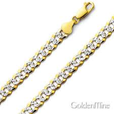 curb link chain necklace images 7mm 14k two tone gold men 39 s white pave curb cuban link chain jpg