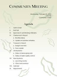 community meeting agenda template