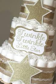 3 tier twinkle twinkle little star diaper cake gold burlap