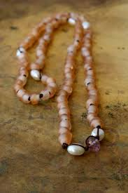 glass pearl necklace images Blush pink bohemian pearl necklace or bracelet ibiza style tribal jpg