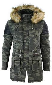 mens fishtail parka duffle jacket denim pu leather fur hood long 3