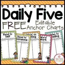 the daily five printables daily five anchor charts by mrs jones creation station tpt