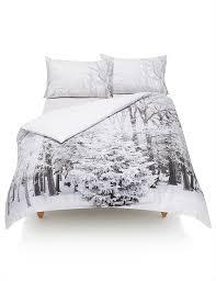 Marks And Spencer Duvet Cover Pure Cotton Digital Snow Forest Print Bedding Set M U0026s