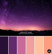 a night sky inspired color palette dark purple amethyst peach