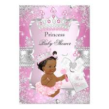 princess baby shower pink silver princess baby shower ethnic card zazzle