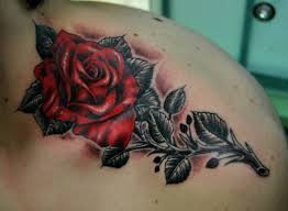 red rose tattoo like the black stem and leaves inspiration