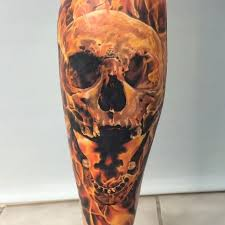 skull on fire tattoo on leg best tattoo ideas gallery