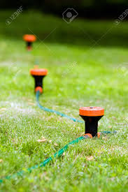 a sprinkler system hooked up to a garden hose stock photo