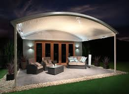 the stratco outback curved roof patio is a unique sleek curved