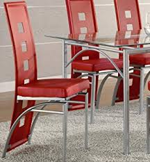 Red Kitchen Table And Chairs Amazon Com Gtu Furniture 5pc Glass Dining Room Kitchen Table