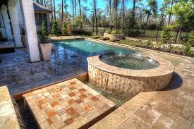 Fire Pit With Water Feature - rectangular pool with walkover water feature fire pit and