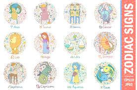 colorful zodiac signs illustrations creative market