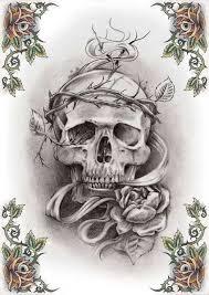 skull and flower tattoo design