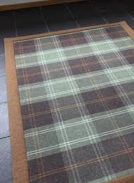 Brown Tartan Rug Pure Wool Flatwoven Carpet Rugs Homeware Anta