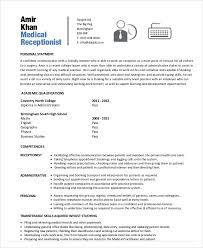curriculum vitae templates pdf 10 receptionist curriculum vitae templates 9 free word pdf