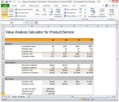 Financial Analysis Excel Template Value Analysis Calculator Template For Excel