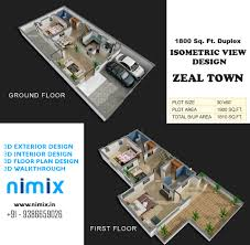 floor plan design for duplex 1800 sq ft for zeal town township