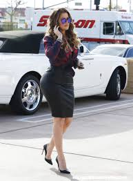 velvet car khloe khloe kardashian rocks a tight black leather skirt while filming