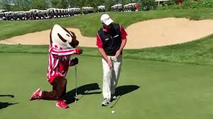 bucky badger steve stricker square off in putting contest at