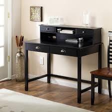 Small Wood Computer Desk With Drawers Small Black Desk With Drawers And Shelves Home Design Ideas