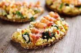 healthy canapes dinner sriracha bacon bleu cheese breakfast toasts