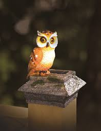 Bird Solar Lights by Whimsical Solar Fence U0026 Deck Post Cap Buddy Mr Owl Deck Posts