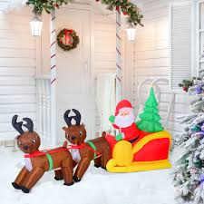 Lighted Santa And Reindeer Outdoor by 7 U0027 Led Lighted Inflatable Christmas Santa U0026 Reindeer With Sleigh