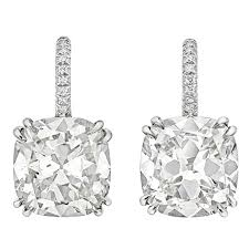 drop diamond earrings cushion cut cert diamond platinum drop earrings at 1stdibs