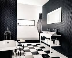 black and white gray bathroom with cream painting wall dark gray