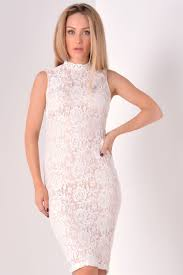 glamorous jordan lace high neck midi dress in white iclothing