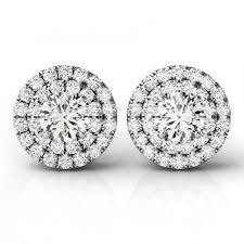 moissanite earrings 1 carat forever one moissanite diamond halo stud earrings
