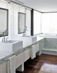 Bathroom Bay Window Architecture White Marble Bathroom Desk Porcelaine Basins Glass