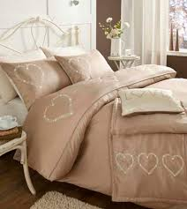 beige shabby chic hearts bedding duvet cover set or runner or
