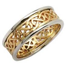 mens celtic wedding bands mens two tone knotwork celtic wedding ring