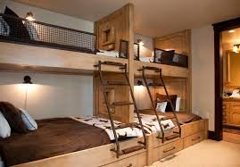 Industrial Bunk Beds Built In Bunk Beds For A Rustic Bedroom With A Reading Light And